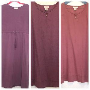 J jill linen cotton modest dress lot mauve small
